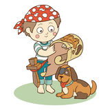 Vector illustration: boy and dog playing pirates Stock Photos