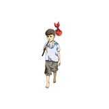 Vector illustration of boy in Everyday Walking Up Stock Photos