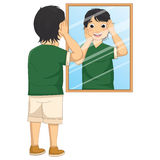 Vector Illustration of A Boy Facing The Mirror Stock Image