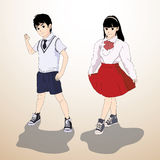 Vector illustration - Boy & Girl. Vector illustration Boy & Girl with Illustrator Royalty Free Stock Images