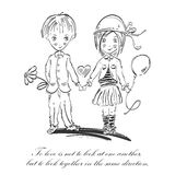 Vector illustration of a boy and a girl. Love. Stock Photos