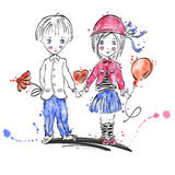 Vector illustration of a boy and a girl. Love. Stock Photography