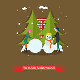 Vector illustration of boy and girl making snowman, flat style Royalty Free Stock Photos