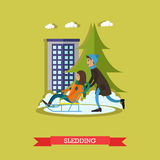 Vector illustration of boy and girl sledding in flat style Royalty Free Stock Photography