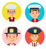 Children Portraits of Adult Occupations Four Icons. Vector illustration of boy with glasses in white toque, two kids in firefighter and seaman hats, red-haired Stock Photos