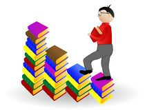 Vector illustration the boy going under books Stock Image