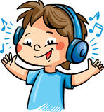 Vector illustration with a boy listening music Stock Photography