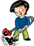 Vector illustration with a boy making clean with vacuum cleaner royalty free illustration