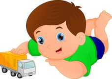 Boy playing with car toy Royalty Free Stock Images