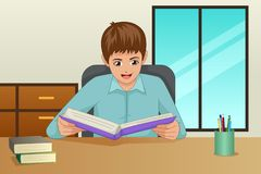 Boy Reading a Book At Home Illustration stock image
