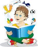 Vector illustration of a boy reading a book. Boy reading a magic book Stock Image