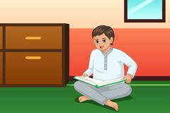 Boy Reading Book at Home Illustration royalty free stock photo