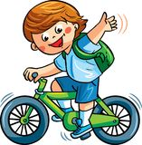 Vector illustration, with a boy riding the bike. In the park and Royalty Free Stock Images