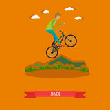 Vector illustration of boy riding bmx bike in flat style Royalty Free Stock Images