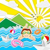 Boy Swimming. Vector illustration of boy swimming in river Royalty Free Stock Image