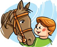 Vector illustration, with a boy talking to a horse Stock Photo