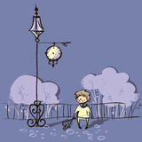 Vector illustration of boy waiting near clock Royalty Free Stock Image