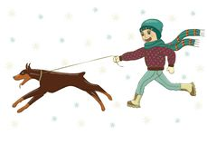 Vector illustration of a boy walking with a dog Doberman on the street in winter. In hat, in scarf, jacket, jeans, boots, mittens. royalty free illustration