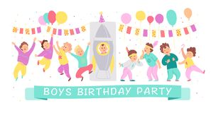 Vector illustration of boys birthday party happy characters celebrating with bd garland, balloons, rocket isolated on white backgr stock illustration