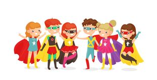 Vector illustration of boys and girls in superhero costumes isolated on white background. Happy children have fun stock illustration