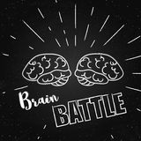 Vector illustration of brain on the chalkboard. These are iconic representations of creativity, learning and brainstorm. Vector illustration of brain with rays Royalty Free Stock Image