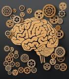 Vector illustration brain and gear. Stock Photos