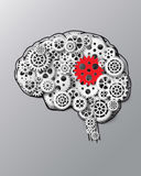 Vector illustration brain and gear. Paper cut style Royalty Free Stock Images