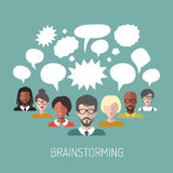 Vector illustration of brainstorming with people and speech bubbles. Business team management icons in flat style. Stock Photo