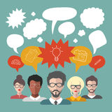 Vector illustration of brainstorming with people and speech bubbles. Business team management icons in flat style Stock Photo