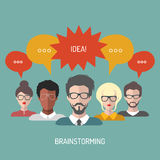 Vector illustration of brainstorming with people and speech bubbles. Business team management icons in flat style. Stock Photos