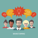Vector illustration of brainstorming with people and speech bubbles. Business team management icons in flat style. Stock Images