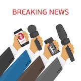 Vector illustration breaking news. Breaking news. Vector live report concept, live news, hands of journalists with microphones and tape recorders Royalty Free Stock Photos