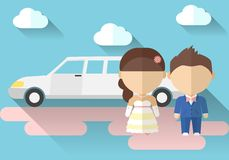 Vector illustration of a bride and groom with. Vector illustration of a bride and groom Stock Photos