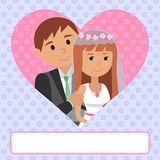 Vector illustration of bride and groom. Card invitation to wedding ceremony in flat style with heart and flowers.   Stock Photography