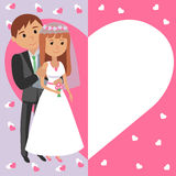 Vector illustration of bride and groom. Card invitation to wedding ceremony in flat style with hearts. Royalty Free Stock Image