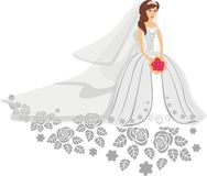 Vector illustration of bride in white dress Stock Image