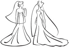 Brides silhouettes. Vector illustration, brides silhouettes, line drawings Stock Images
