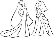 Brides vector silhouettes. Vector illustration, brides silhouettes, line drawings Stock Photo