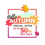 Vector bright autumn fallen leaves with text Hello Autumn. Special offer. Up to 50 off sale. Vector illustration of bright autumn fallen leaves with text Hello vector illustration