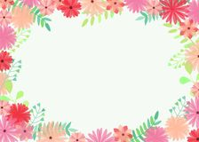 Vector illustration with bright and beautiful flowers and branches on white background and place for text. stock image