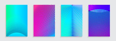 Vector illustration of bright color abstract pattern background with concentric circles for minimal dynamic cover design. Blue, pink, green placard poster Stock Image