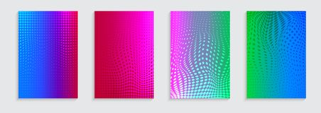 Vector illustration of bright color abstract pattern background with halftone motif for minimal dynamic cover design Royalty Free Stock Photo