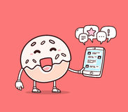 Vector illustration of bright color smile donut holding phone  Stock Photography