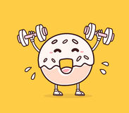 Vector illustration of bright color smile donut lifts dumbbells Stock Image