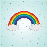 Vector illustration bright colorful rainbow in kawaii style around a star, sky, clouds.  Stock Image