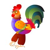 Vector illustration of bright colorful rooster - symbol of 2017 year. Vector illustration of bright colorful rooster. Chinese zodiac sign stock illustration