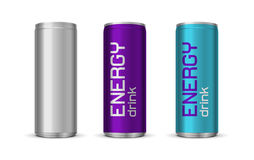 Vector illustration of bright energy drink cans Royalty Free Stock Photography