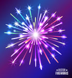 Vector illustration of bright fireworks. Stock Photo