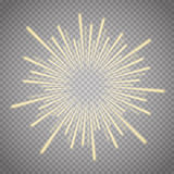 Vector illustration of bright flash, explosion or burst  on transparent background. Royalty Free Stock Photo