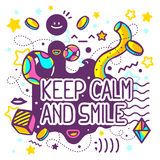 Vector illustration of bright keep calm and smile quote  Stock Photography